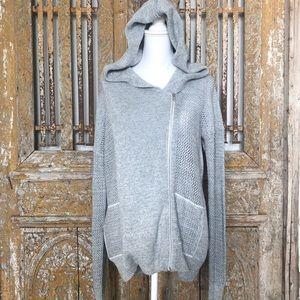 WHITE + WARREN LUXURY Gray Hooded Sweater M
